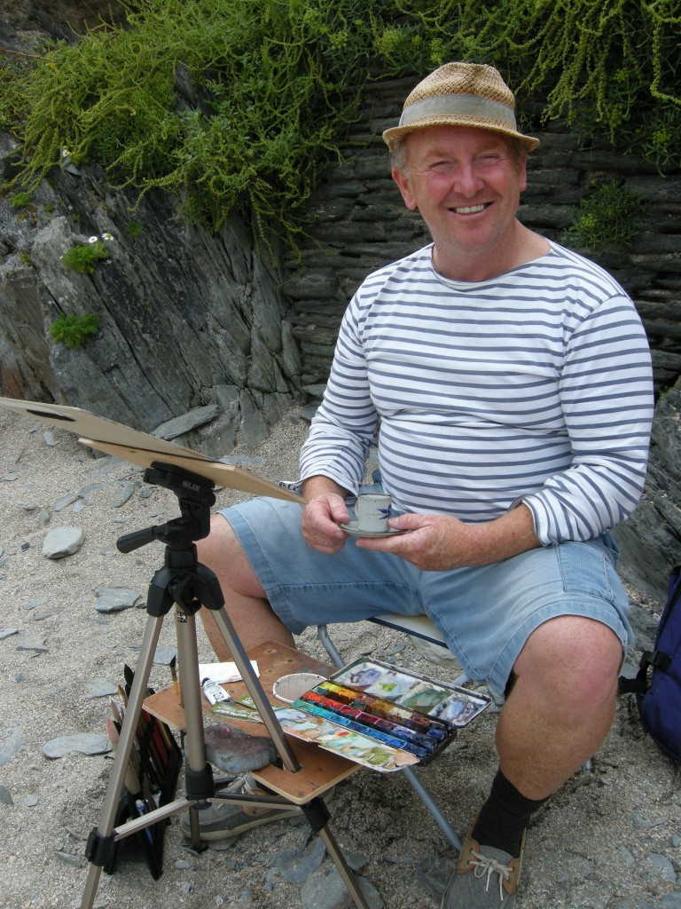 Steve PP Woolacombe Artist painting watercolours on Barricane Beach,Woolacombe, North Devon.