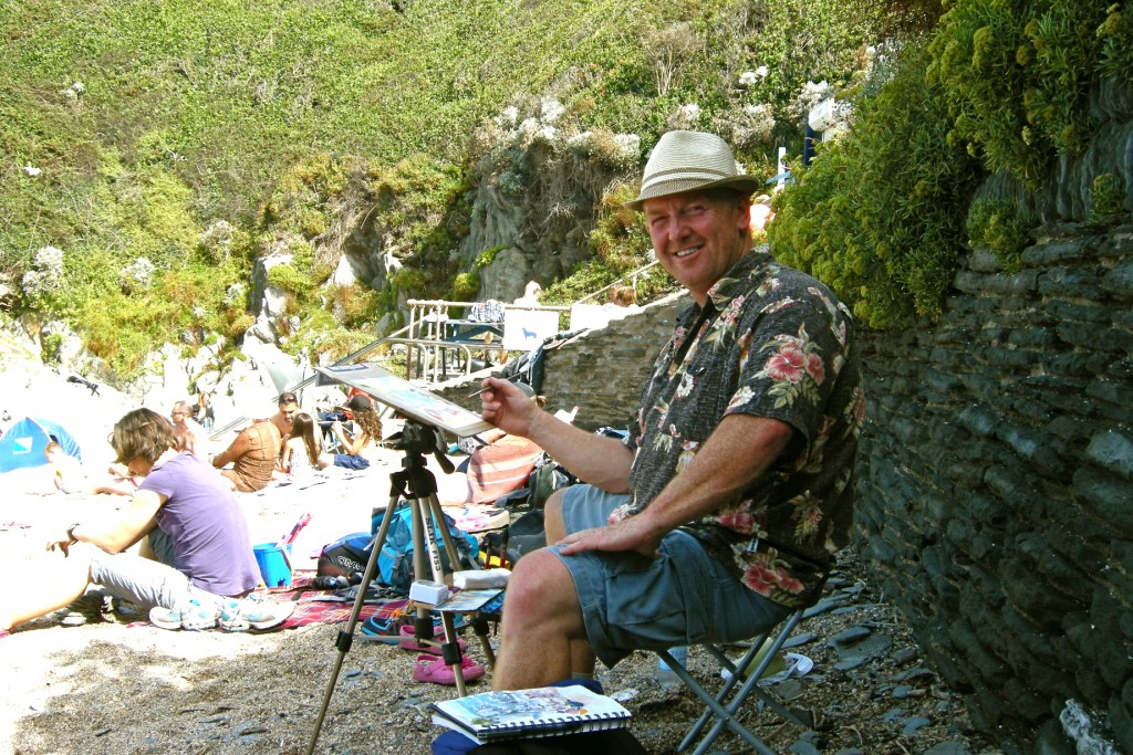 Steve PP Woolacombe Artist painting on Barricane Beach