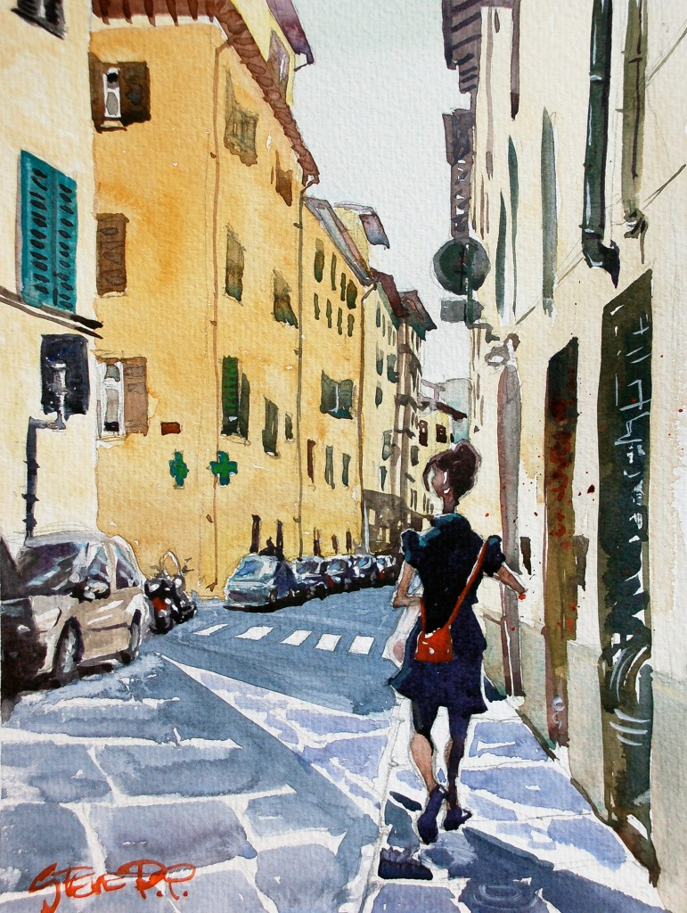 Lunch Break Florence watercolour painting by British artist Steve PP.