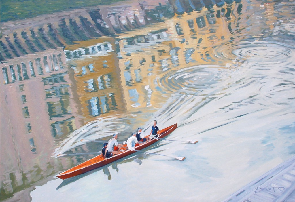 Rowing The Arno Florence Italy Painting by Steve PP