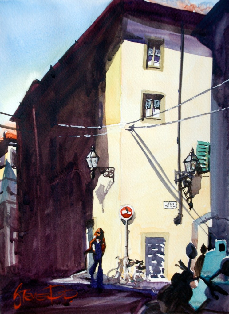 Sunshine Style Florence Italy watercolour painting by Steve PP.