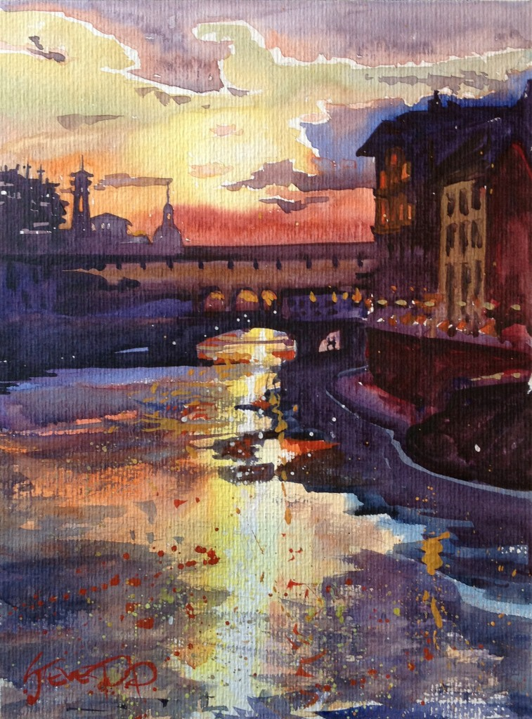 Florence sunset watercolour painting by Steven Pleydell-Pearce Unframed Print. Florence Art Print .
