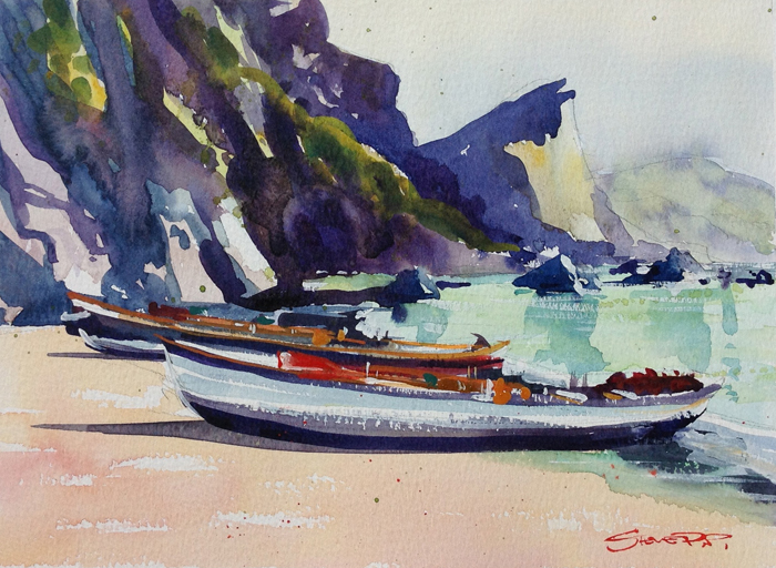 Pilot Gig boats watercolour painting by Woolacombe artist Steve PP.