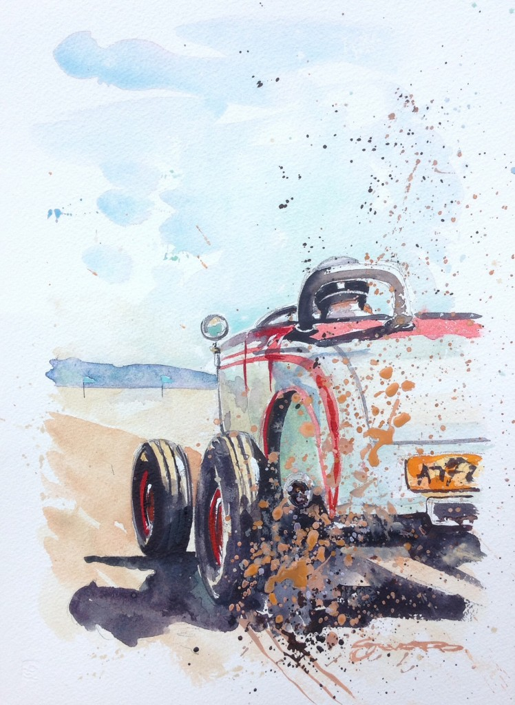 Hot Rod watercolour painting by Steve PP