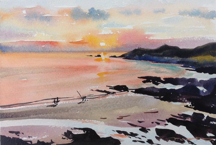 Sunset Fishermen watercolour painting by Woolacombe artist Steve PP