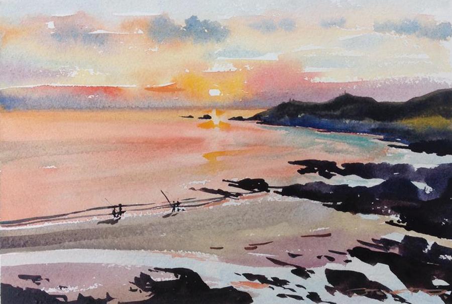 Sunset Fishermen watercolour painting by Woolacombe artist Steve PP