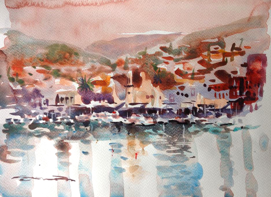 Hydra Island watercolour painting by Steve PP.