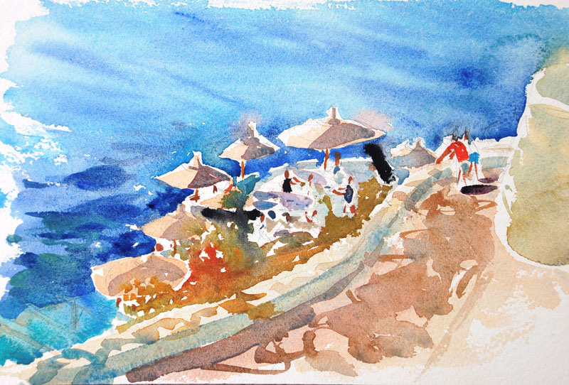 Hydra, Greece watercolour painting by Steve PP
