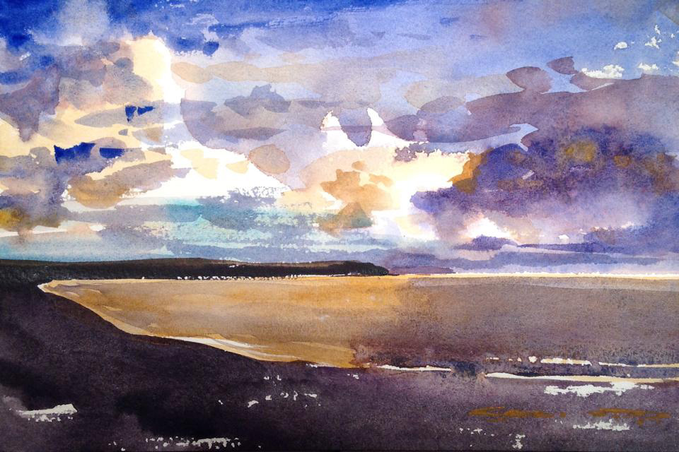 Beautiful skies over Woolacombe watercolour painting by Steve PP.