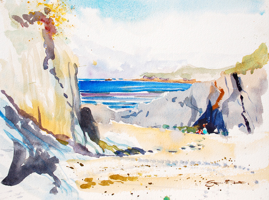 Barricane Beach, woolacombe, Devon watercolour painting by Steve PP.