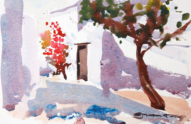 Hydra Greece watercolour painting by Steve PP