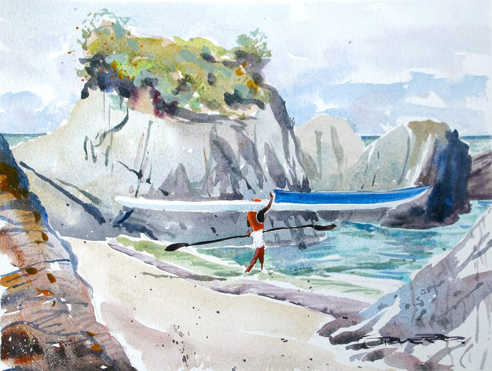 Early morning ski paddler at Barricane Beach watercolour painting by Steve PP Woolacombe
