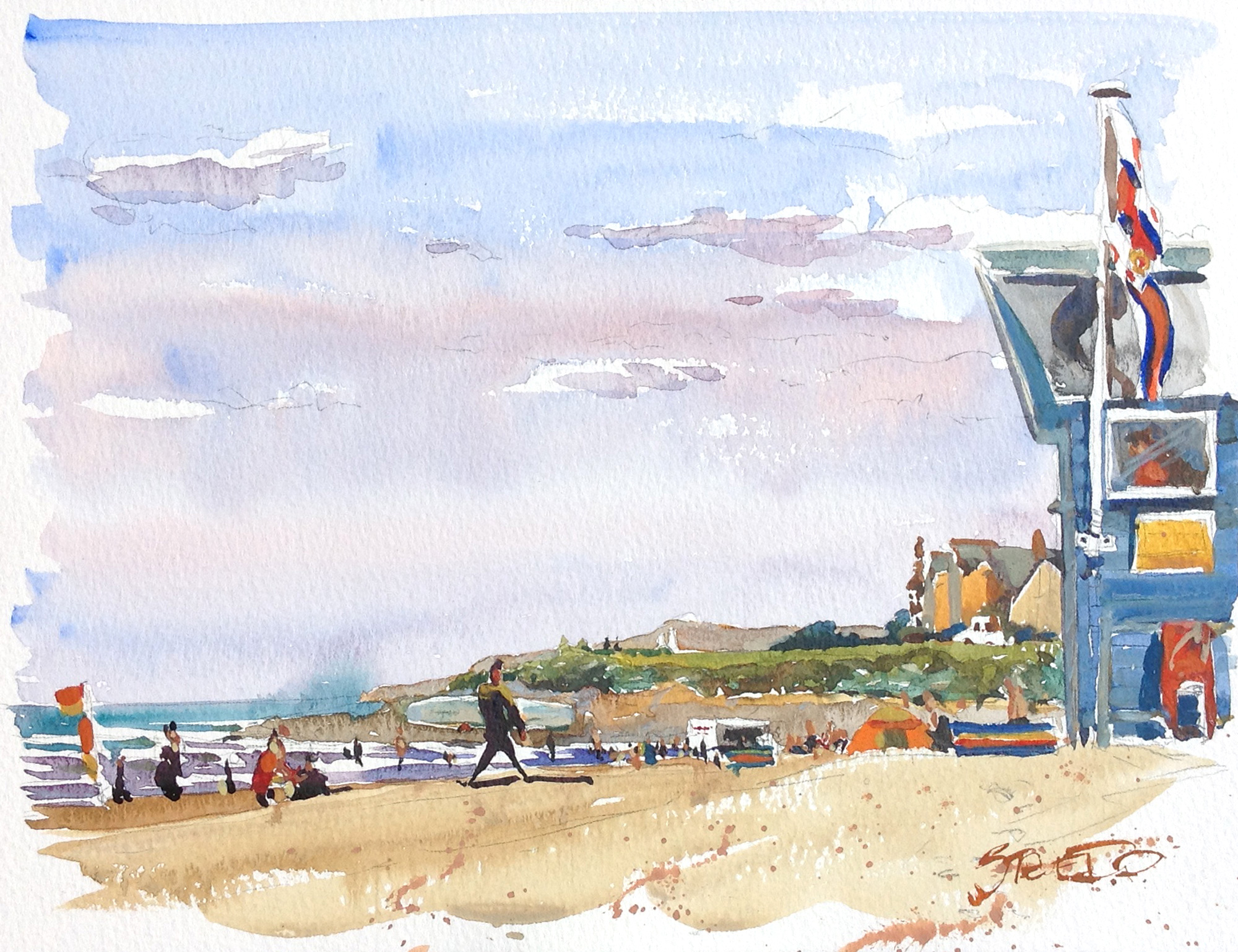Surfers and sunbathers on Woolacombe Beach, Devon. Watercolour painting by Steve PP.