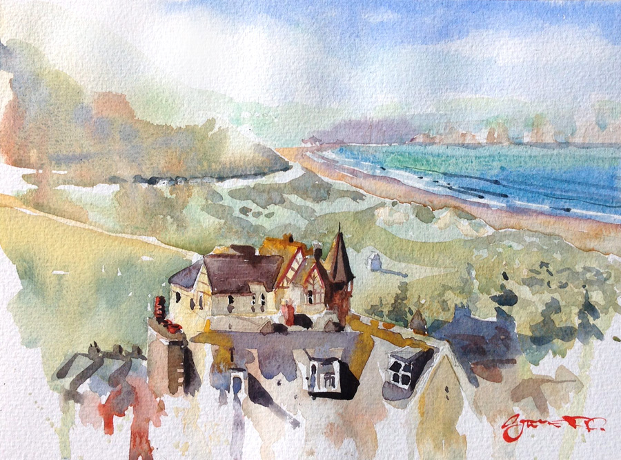 Woolacombe Bay watercolour painting by Steve PP