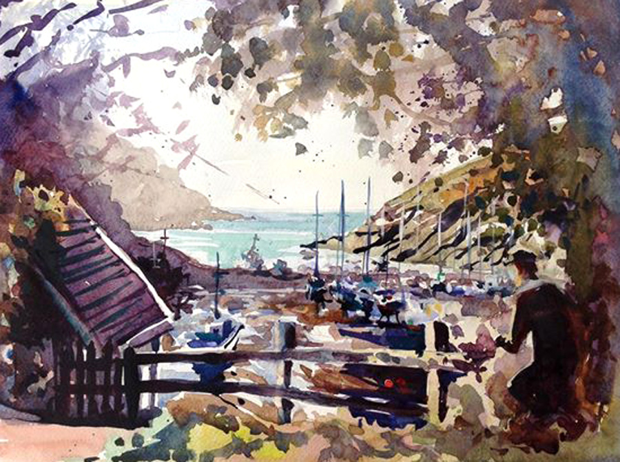 Harbour watercolour painting by Steve PP.