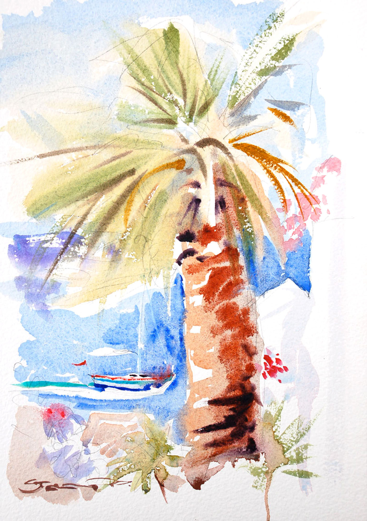 Island palm watercolour painting Hydra Greece by artist Steve PP.
