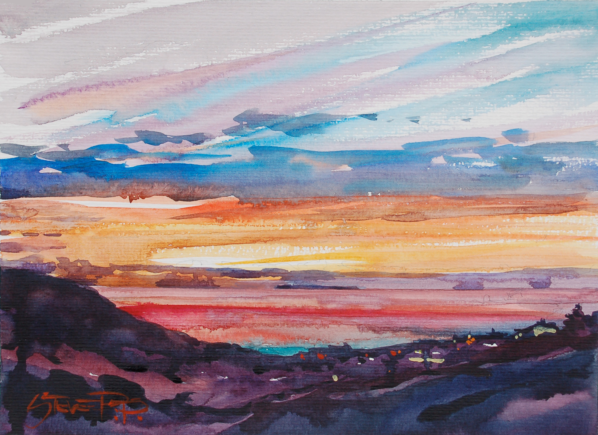 woolacoombe sunset watercolour painting by Steve PP.