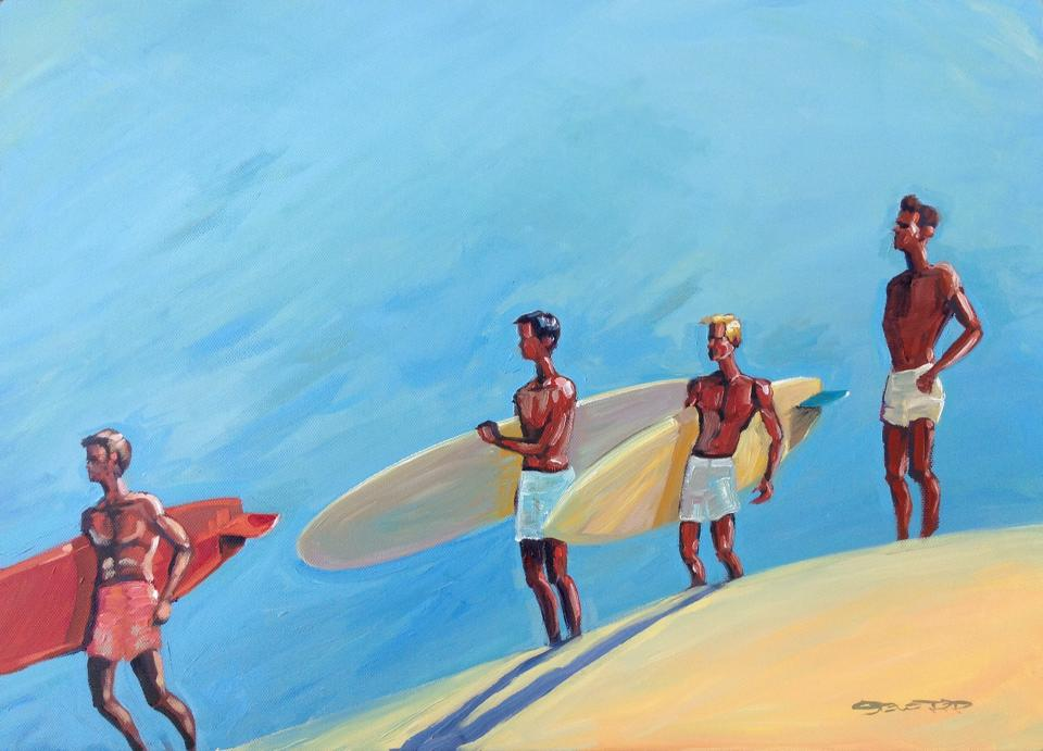 Surf Check oil painting by Steve PP.