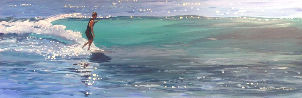 Sparkling Trim surf art painting by Woolacombe artist Steve PP