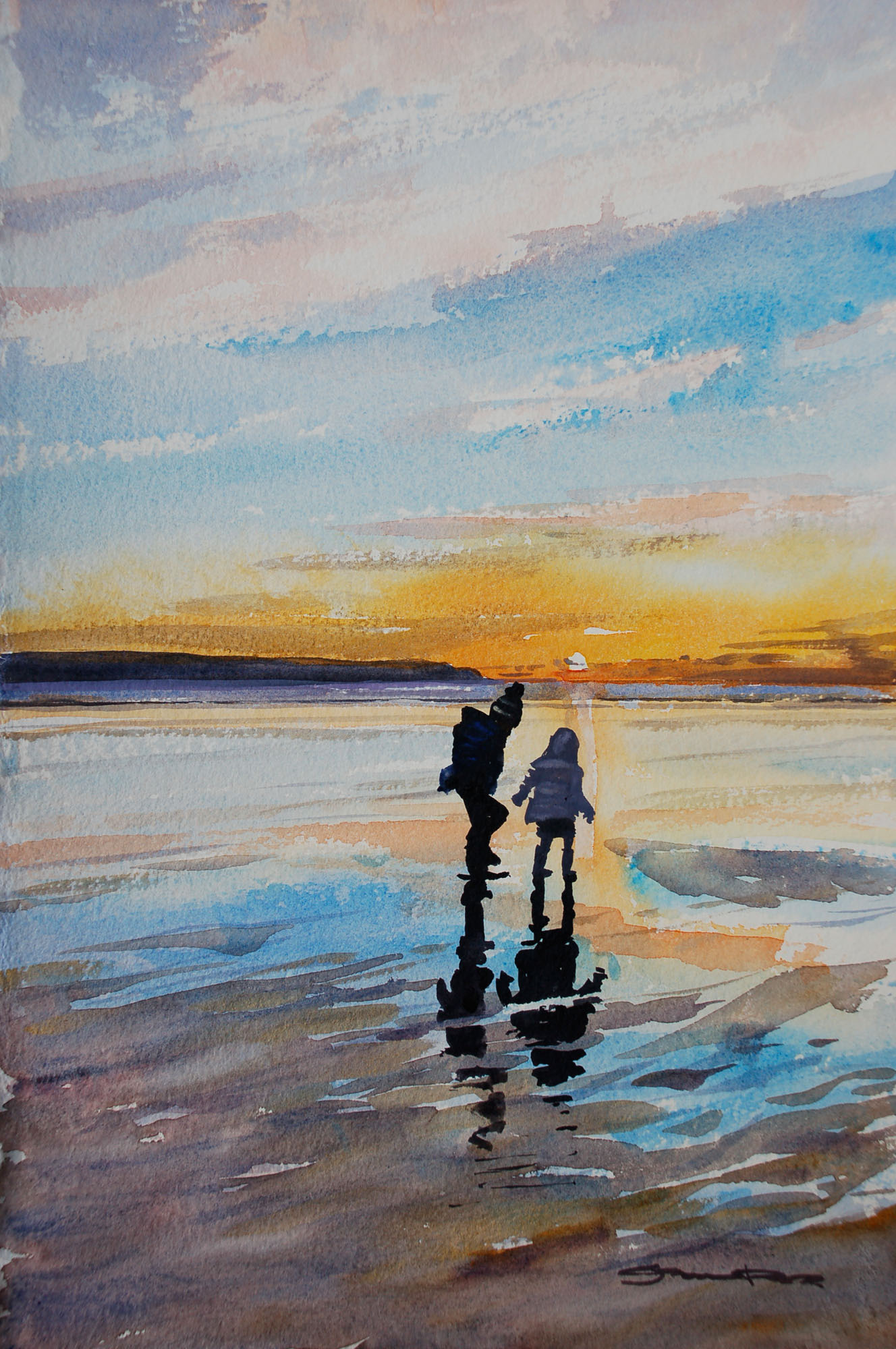 Woolacombe sunset watercolour painting by Steve PP.