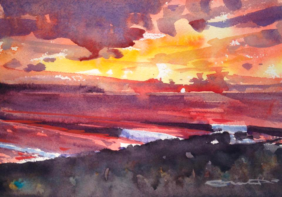 Sunset surf Woolacombe watercolour painting by Steve PP.