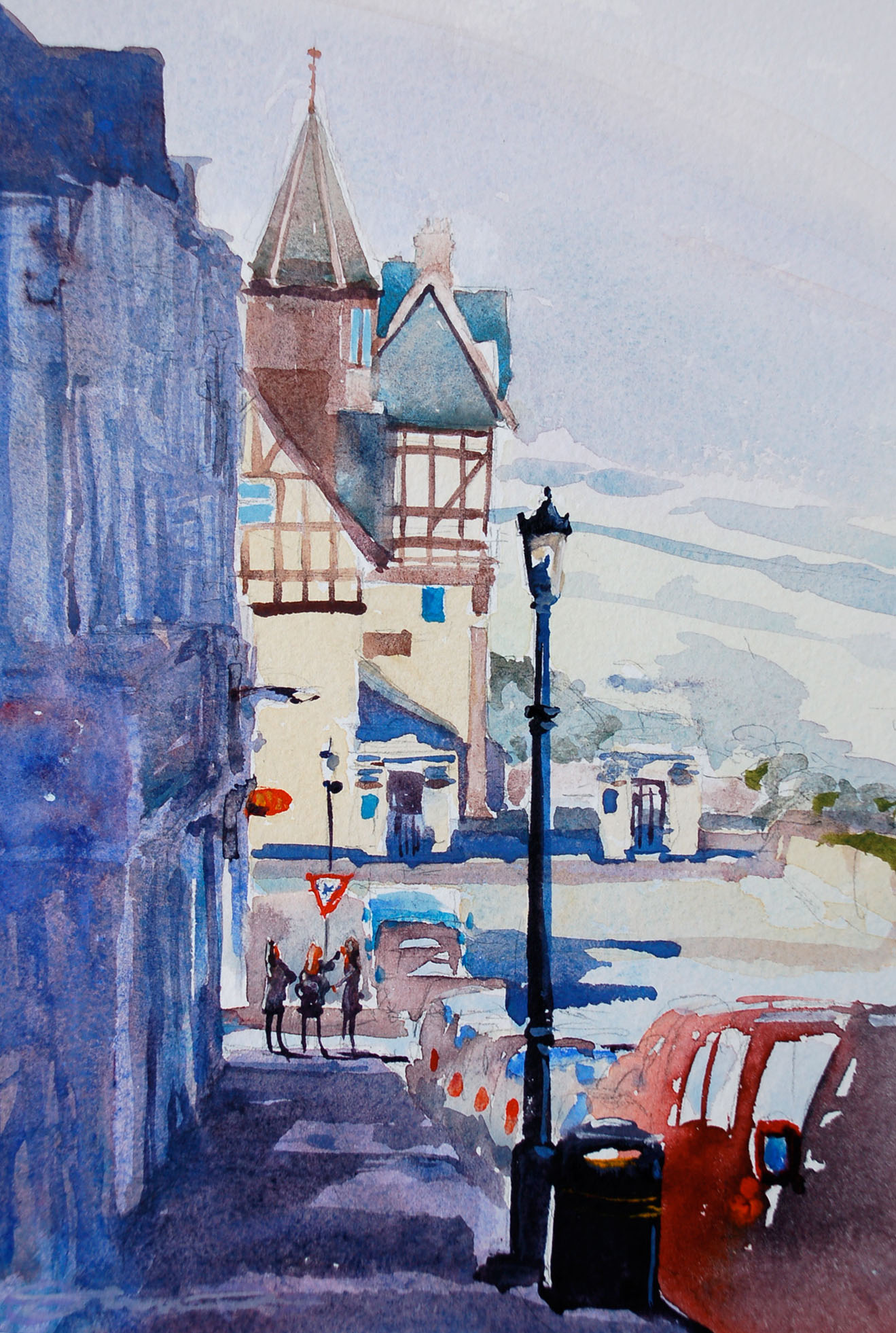 Watercolour painting of Woolacombe Bay Hotel and village by Steve PP.