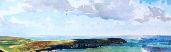 Watercolours at The Boardwalk, Woolacombe, Devon.