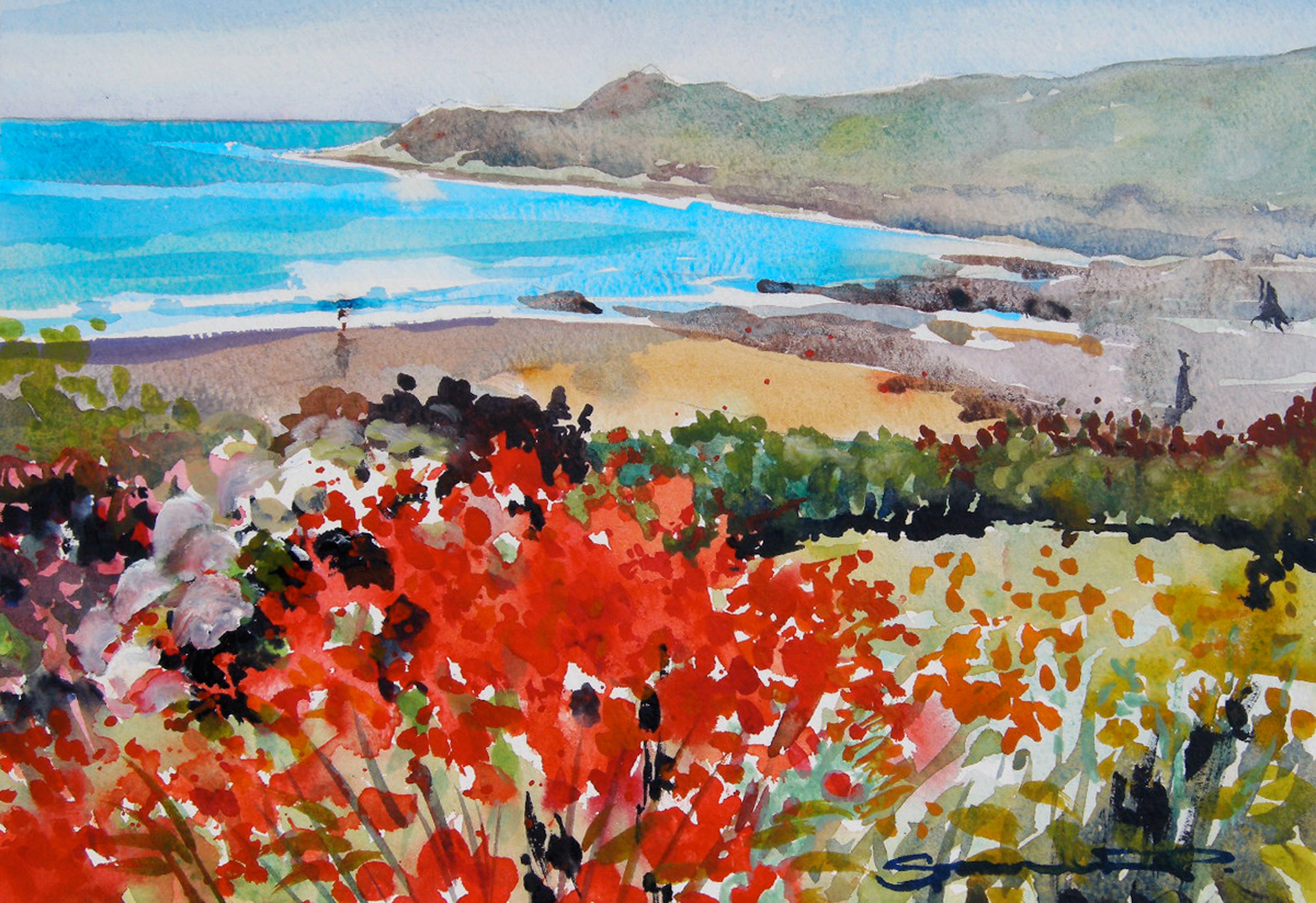 Coastal summer Garden Woolacombe Bay watercolour painting by artist Steve PP.