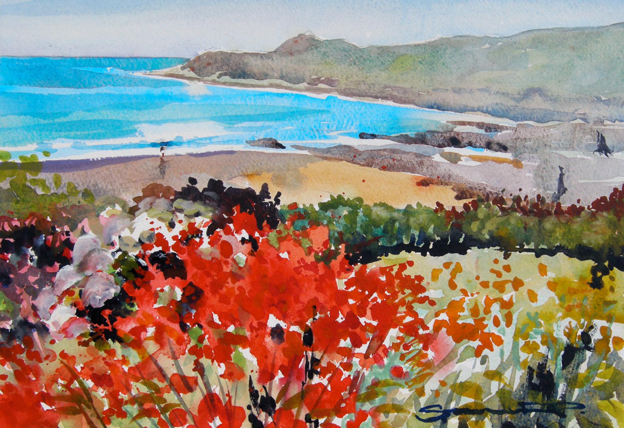 Coastal summer Garden Woolacombe Bay watercolour painting by artist Steve PP.