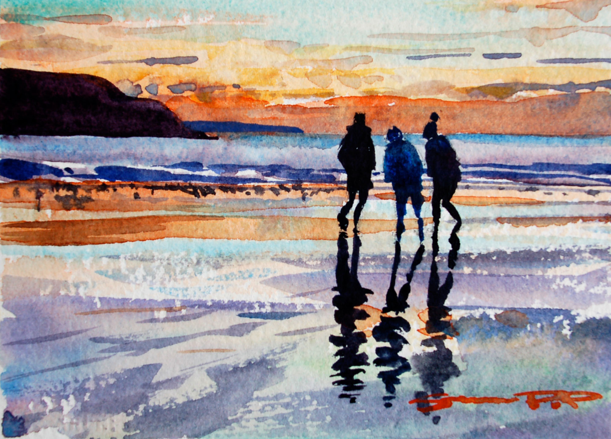 Sunset Friends woolacombe watercolour painting by Steve PP.