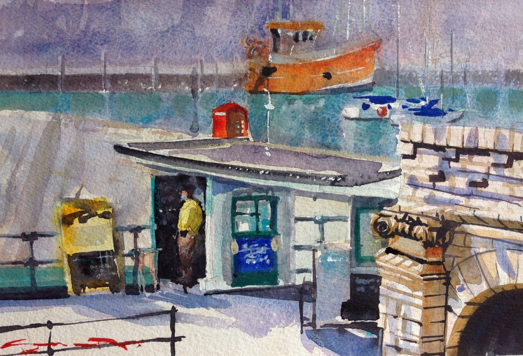 Waiting For Customers Ilfracombe watercolour painting from the Woolacombe art Gallery of Steve PP.