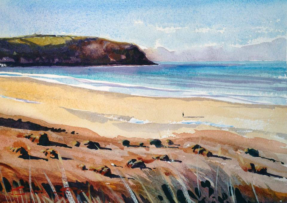 Early Morning Calm Woolacombe Beach watercolour painting by Devon artist Steve PP.