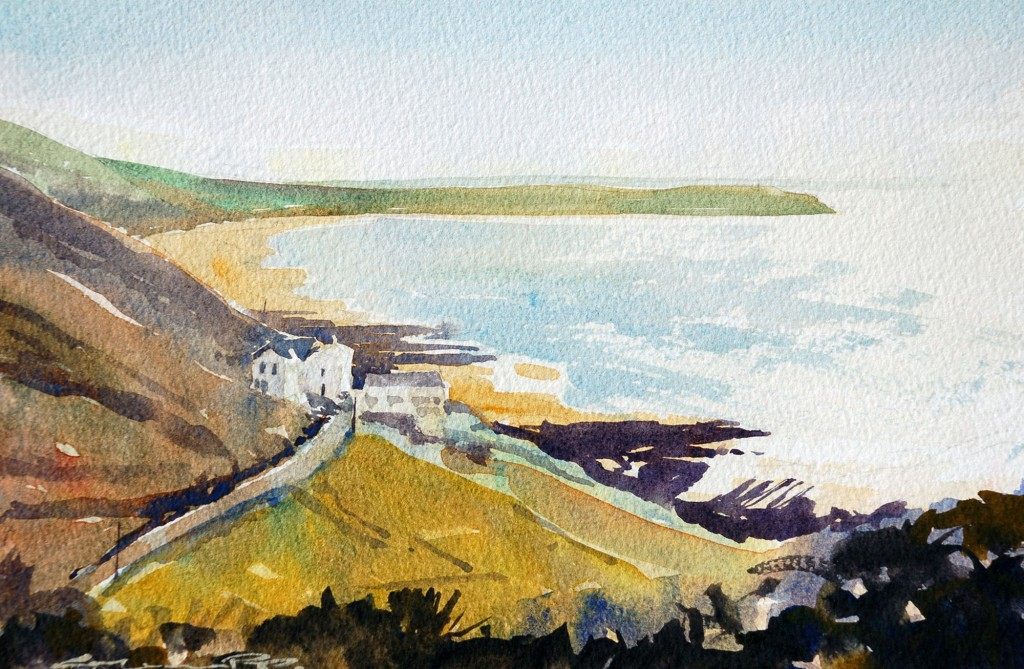Woolacombe Bay, devon, watercolour painting by Woolacombe artist Steve PP.