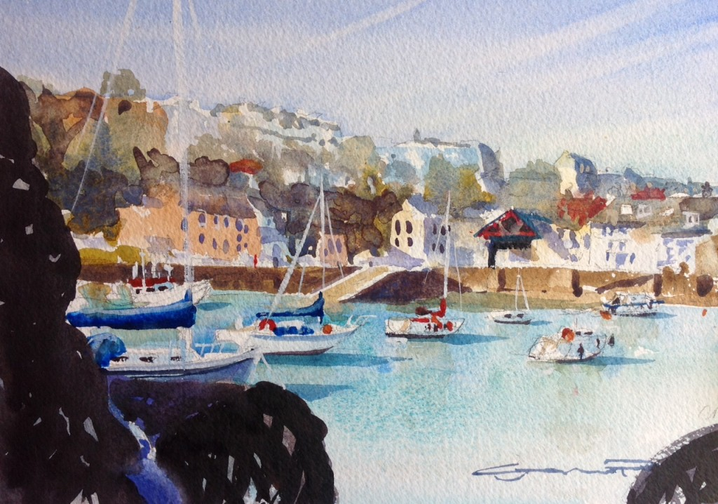 Between The Pots. Ilfracombe Harbour Watercolour painting from Steve PP's Woolacombe Art Gallery