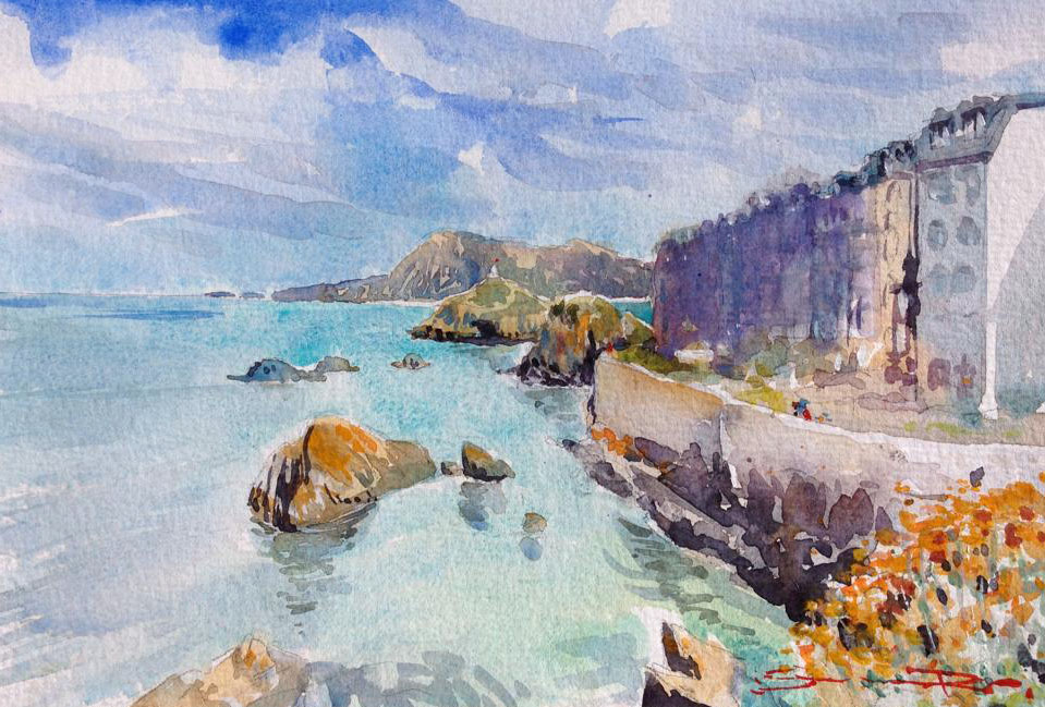 Behind the Harbour , watercolour painting from the Woolacombe Art gallery of Steve PP