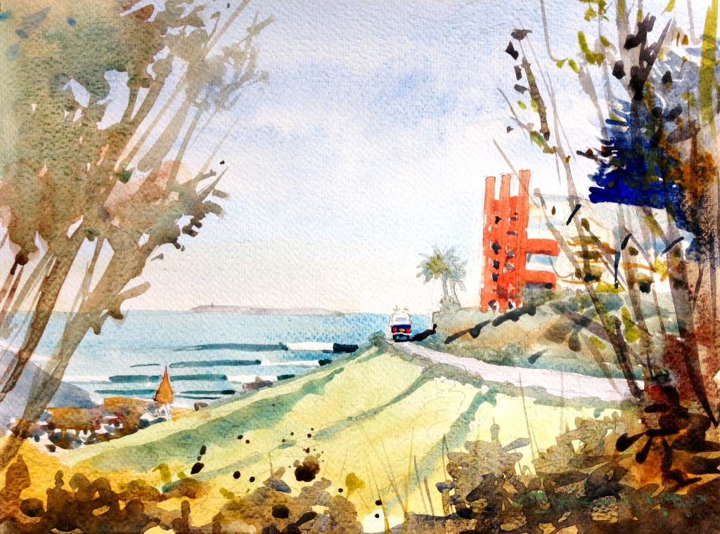 Surf Trip watercolour painting from Steve PP's Woolacombe Art Gallery.