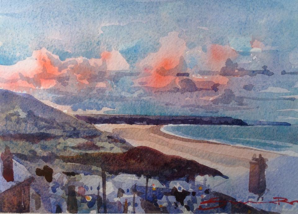 Watercolour study from the Woolacombe Art Gallery of Steve PP