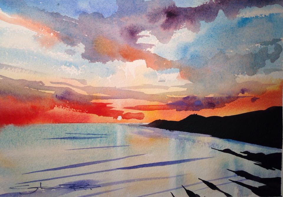 Morte Embers -Woolacombe watercolour painting from the Woolacombe Art Gallery of Steve PP.