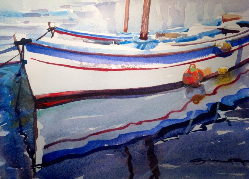 Early Morning Tide, Hydra, Greece. Watercolour paintings of Greece by Steve PP.