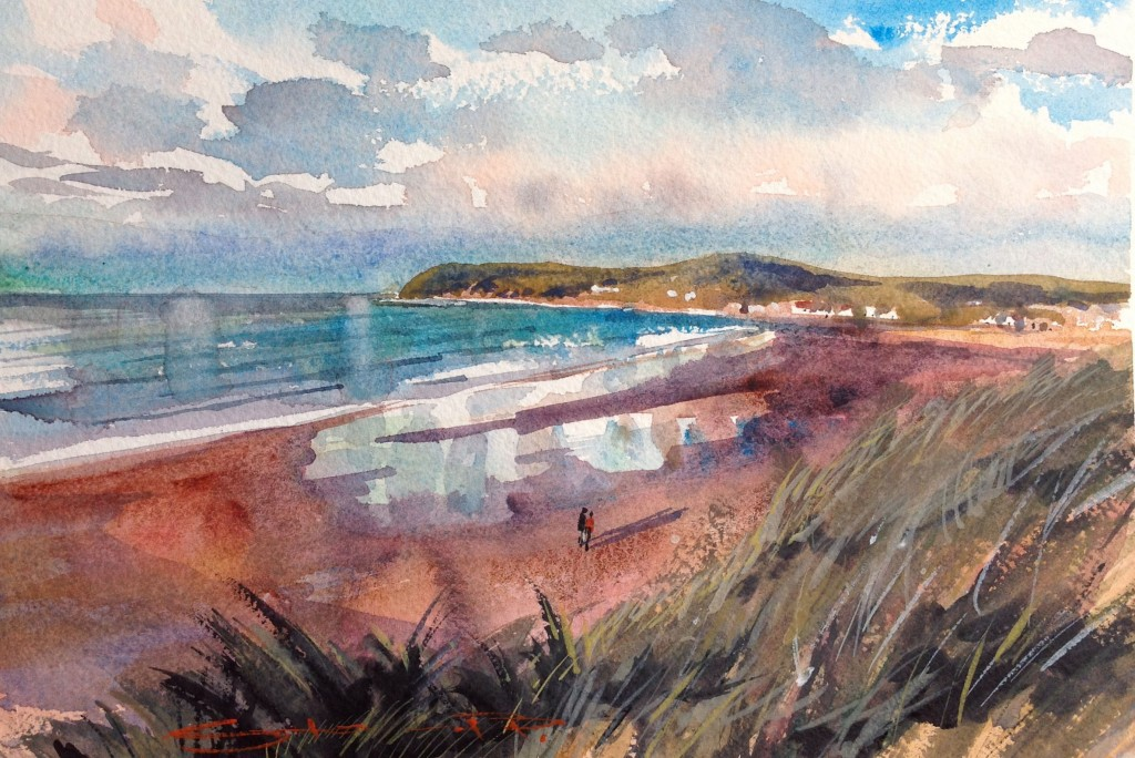 """Dropping Tide, Croyde Bay"" watercolour painting from the Woolacombe Art Gallery of Steve PP."
