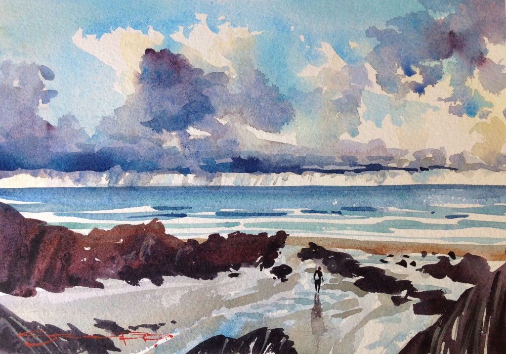 A solo surfer walks the beach after a winter surf. Watercolour painting from the Woolacombe Art Gallery of Steve PP.