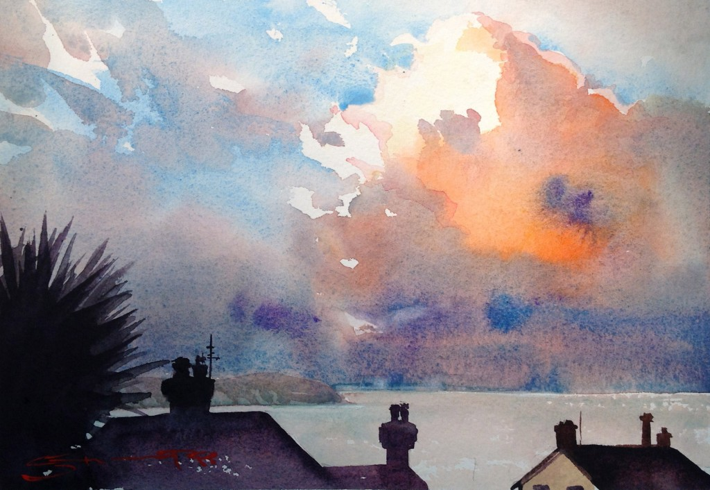 Coastal Watercolour painting from the Woolacombe Art Gallery of Steve PP.