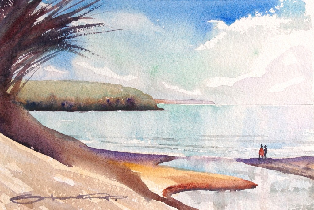 """Morning Glass"" Woolacombe Bay watercolour painting, from the Woolacombe Art Gallery of Steve PP."