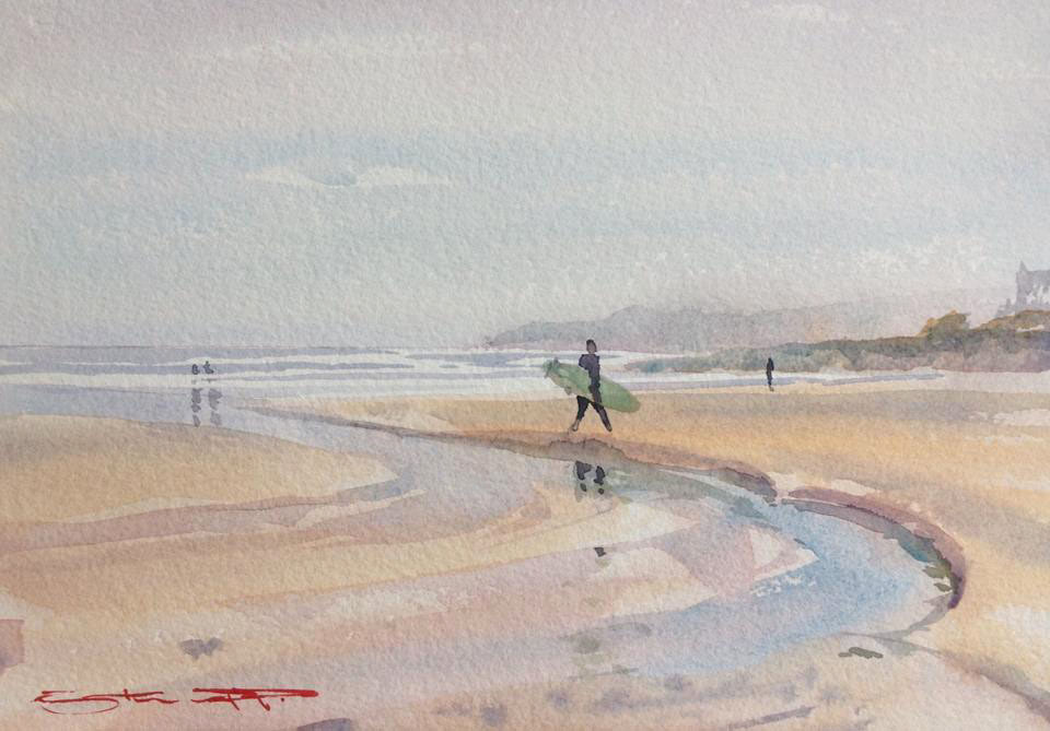 Watercolour painting from the Woolacombe Art Gallery of Steve PP.