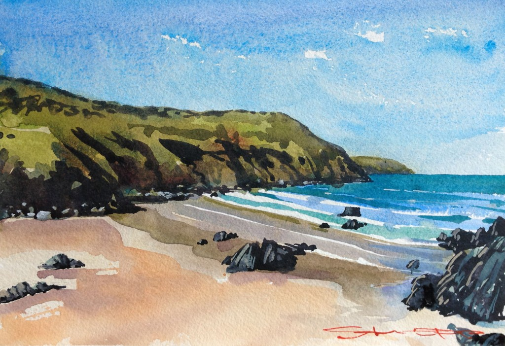 Putsborough watercolour painting from the Woolacombe Art Gallery of Steve PP.