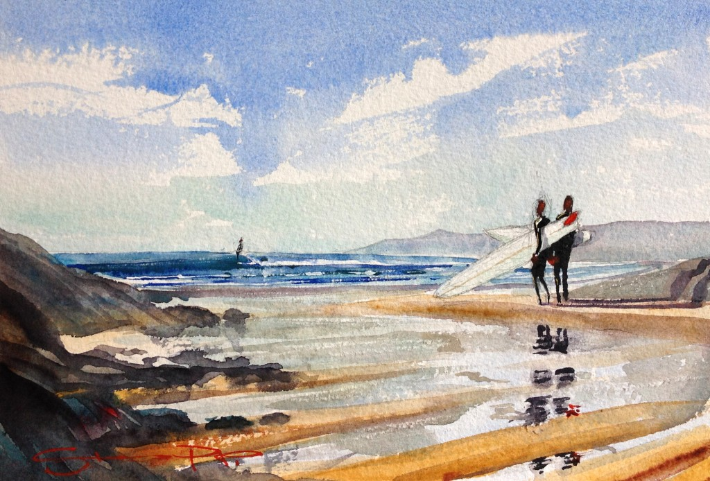 """Spring Low Tide""  surfers at Combesgate beach. Watercolour painting by Steve PP from his Woolacombe Art Gallery"
