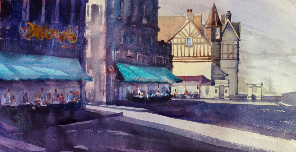 Woolacombe/French watercolour painting from the Woolacombe art Gallery of Steve PP.