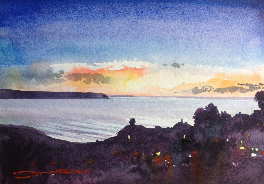 Almost Spring On The Sundial Watercolour Painting from the Woolacombe Art Gallery of Steve PP.