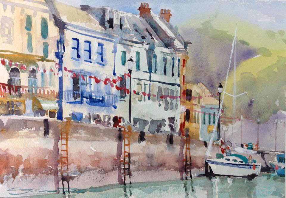 """Taking On Provisions"" Ilfracombe harbour Watercolour painting from the woolacombe Art Gallery of Steve PP."