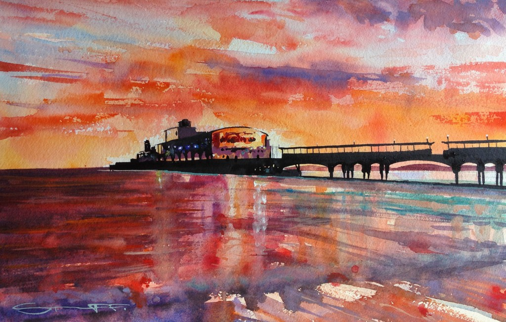 Bournemouth Aglow watercolour painting by Woolacombe artist Steve PP.